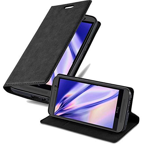 Cadorabo Hülle für HTC ONE M9 (3.Gen.) - Hülle in Nacht SCHWARZ – Handyhülle mit Magnetverschluss, Standfunktion & Kartenfach - Hülle Cover Schutzhülle Etui Tasche Book Klapp Style