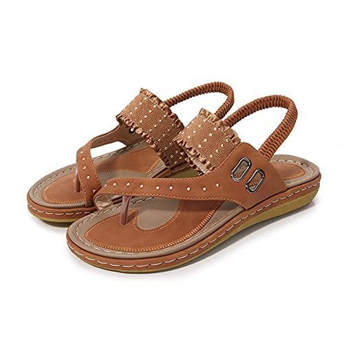Sandalias de verano para mujer, bohemias, planas, bohemias, elásticas, para la playa, remaches, con correa, elásticas, clip para la parte trasera, marrón, 41 EU