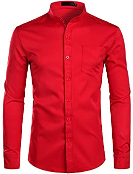 ZEROYAA Men s Banded Collar Slim Fit Long Sleeve Casual Button Down Dress Shirts with Pocket ZLCL09 Red Medium