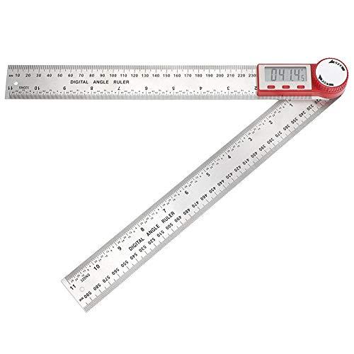 デジタル角度定規、ステンレス鋼電子定規360度角度測定ツール建設用分度器建設角度ファインダー定規(0-300mm)