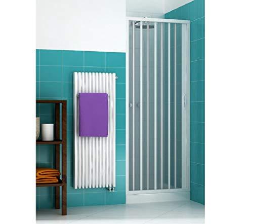 Duschtüre Duschfaltwand in PVC für Nische, WEISS, laterale Öffnung, Breite 100 cm, Höhe 175 cm