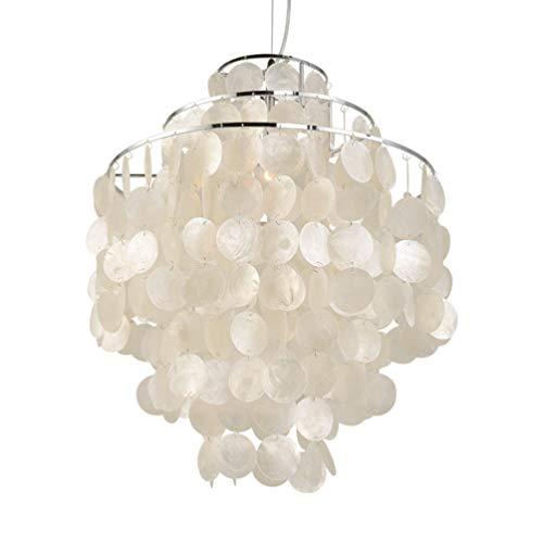 Suspension moderne chromé Shell Lampe suspendue Minimaliste Suspension créative Éclairage intérieur à manger E27 Fil de pêche Lustre Beige Abat-jour Suspension pour chambre à coucher, fer, Ø30cm