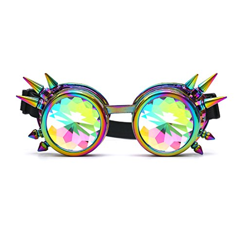 FIRSTLIKE Kaleidoscope Rave Goggles Steampunk Glasses with Rainbow Crystal Glass Lens