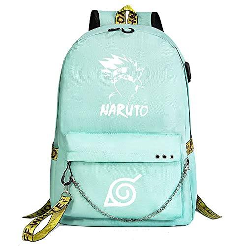 ZZGOO-LL Naruto/Sharingan/Kakashi with Chain USB Mochila Backpack Casual Impermeable Viaje de Negocios con Unisex Green-A