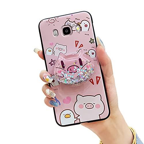 Funda impermeable para teléfono Samsung Galaxy J510/J5 2016/J5108, con purpurina de silicona y purpurina, diseño de líquidos, a prueba de golpes, color rosa y pato