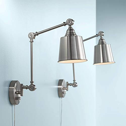 Mendes Modern Wall Lamps Plug in Set of 2 Brushed Nickel for Bedroom Living Room Reading - 360 Lighting