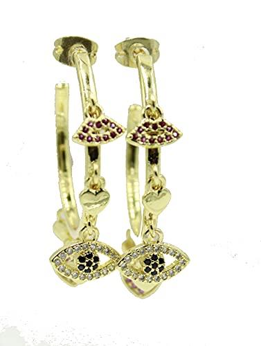 Aro de ojo malvado de 1 pulgada x 3 mm chapado en oro de 18 quilates, medio aro con dijes de 2,5 cm