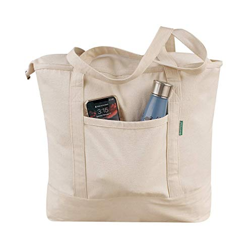 Heavy Duty Cotton Canvas Tote Bag Women's for Grocery, Shopping, Book Bag Large with Outer Pocket and ZIPPER Closure Machine Washable Long Handles Large 22' W x 16.5' H (Natural)