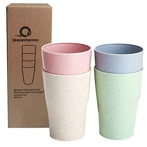 shopwithgreen Weizenstroh Tasse 400 ml Tasse Trinkbecher Becher | Leichte und Fallfeste Tasse für Wasser, Kaffee, Milch, Saft | Multifunktionale & Spülmaschinenfest, geeignet für alle Menschen
