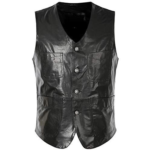 Chaleco de piel de oveja para hombre Primavera Verano Slim Fit Chalecos de motocicleta Negro Casual de cuero sin mangas Chaleco