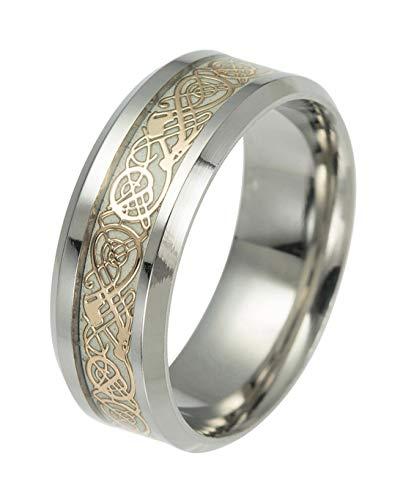 Tanyoyo Celtic Dragon Rings For Men Women Stainless Steel Luminous Glow Glow Wedding Band Silver Golden Jewelry (6)