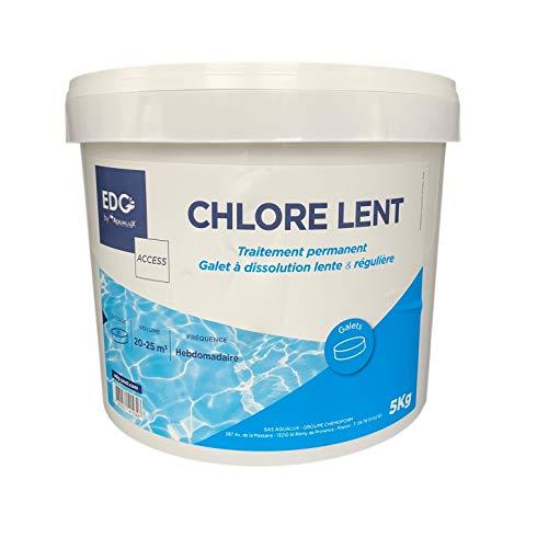 EDG Chlore Lent Piscine - Désinfecte - Galet 200g - Seau 5 Kg- Action Permanente Longue Durée - Gamme Traitement Et Accessoires Piscine EDG Access