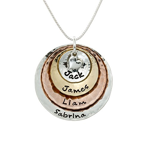 AJ's Collection My Four Treasures Personalized Necklace with 4 Customizable Discs in Sterling Silver, 14k Gold Plate and Rose Gold Plate with a 925 Heart Charm