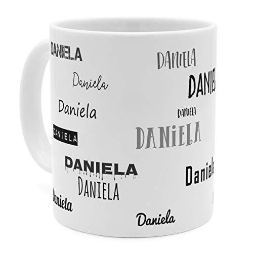 printplanet Tasse mit Namen Daniela - Motiv Schriftarten Sammlung - Namenstasse, Kaffeebecher, Mug, Becher, Kaffeetasse - Farbe Weiß