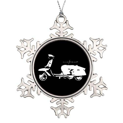 DKISEE Gepersonaliseerde kerstboom decoratie Scooter Stencil donkere achtergrond Pewter Sneeuwvlok Ornament Stencil 3 inches Aluminium Metalen Kerstmis Ornament Keepsake
