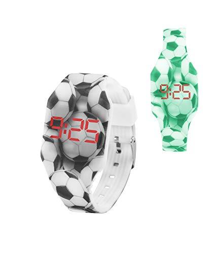 KIDDUS Digital LED Uhr für Mädchen, Jungen. Soft Silikon Armbanduhr für Kinder und Erwachsene. Langlebige Japanische Batterie. Leicht zu lesen und die Zeit zu Lernen (1 FLUOR, Fußball)