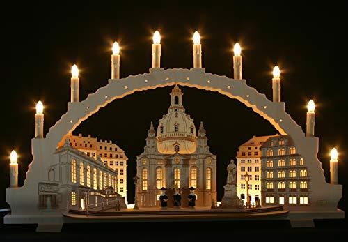 Großer Schwibbogen 70cm, Frauenkirche Dresden, LED-Innenbeleuchtung, 10 Kerzen, Handarbeit Erzgebirge