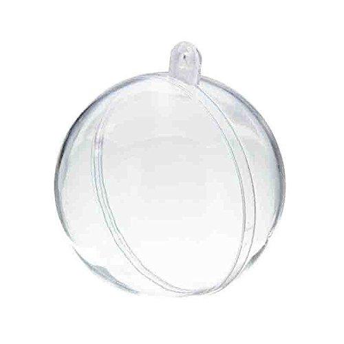 SODIAL 20 Pcs Arbre De Noel Suspendu Decorations Boule Transparent Ouvert en Plastique Transparent Ornement Enfants Faveurs Fete Fournitures