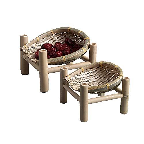Uioy Panier de Rangement - Mini Plateau à thé ménager en Bambou Fait Main à Fruits et Fruits (Couleur : Beige)
