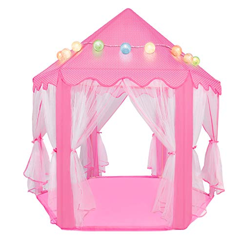 """innhom Princess Tent for Girls, Princess Castle Tent for Kids Fairy Playhouse Play Tent Toys Gifts for Indoor and Outdoor Games, Large Pink Hexagon with Colorful Cotton Ball Lights, 55""""x 53""""(DxH)"""