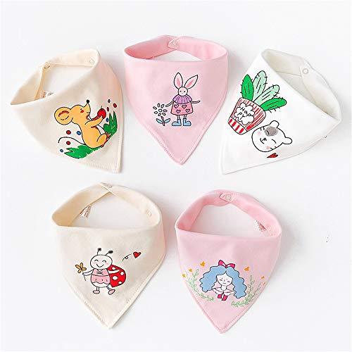 SDWP Baby Dreieck Handtuch Speichel Handtuch Baumwolle Lätzchen Doppelknopf Lätzchen Fünf Packungen Neugeborenen Kinderkopftuch (Color : Multi-colored4)