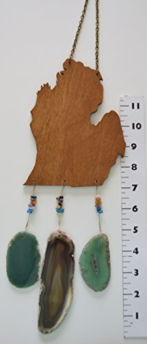 Michigan lower peninsula mitten wind chime dark aqua/teal and amber tone Agate geode windchime wood stone sun catcher wind chime mobile window decor hanging