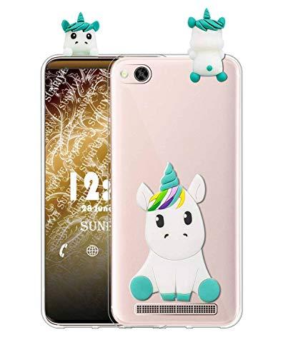 Sunrive Funda para Xiaomi Mi 4c, Silicona Transparente Funda Slim Fit Gel 3D Carcasa Case Bumper de Impactos y Anti-Arañazos Espalda Cover(W1 Unicornio 1) + 1 x Lápiz óptico
