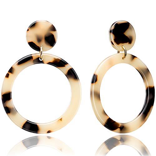 Enameljewelries Wave Tortoise Shell Hoop Earrings Lightweight Acrylic Resin Hoop Earrings with Hypoallergenic 925 Silver Post for Women (B3#Leopard)
