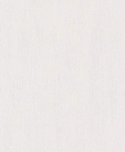 Rasch Tapete 415766 – Einfarbige Vliestapete in Weiß mit Struktur – 10,05m x 53cm (L x B)