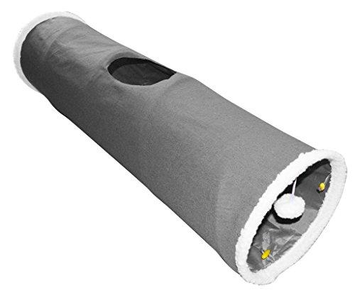 Katzen Spieltunnel grau 90x25cm Popup Katzentunnel