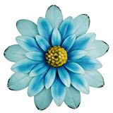 YiYa 33CM Decoración de Pared de Flores de Metal Múltiples Capas Arte de Pared de Flores Decoraciones de Arte de Pared Colgante para balcón Patio Porche Dormitorio Sala de Estar Jardín Oficina (Azul)
