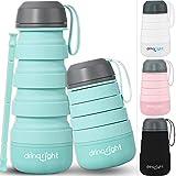Botella de agua plegable Drinqright | con pajita plegable reutilizable y base extraíble para almacenamiento | Ecológica y sin BPA | Botella de agua pequeña/botella de agua plegable, 400 ml, Azul menta