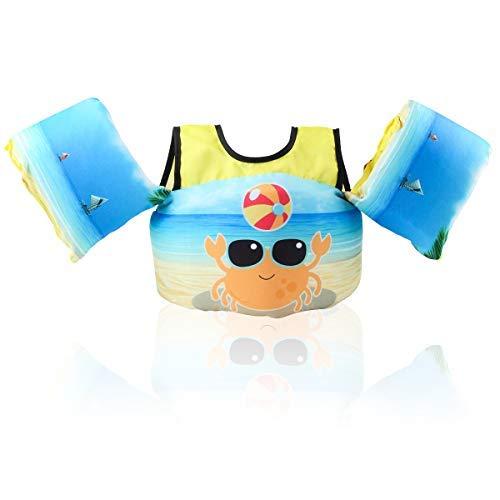 HOFOUND Schwimmjacke für Kinder von 2-5 Jahre 14-25kg Schwimmflügel und verschiedenen Designs für Kleinkinder zum Schwimmenlernen für Jungen und Mädchen,Krabbe