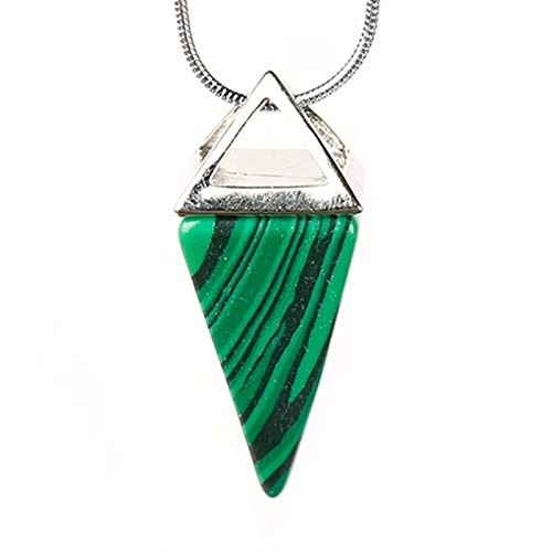 Oneriverspring40 1PC Fashion Colourful Natural Crystal Mineral Ornaments Conical Pyramid Noble Pendant Couple Pendant Necklace Pendant Gift (Color : Malachite)