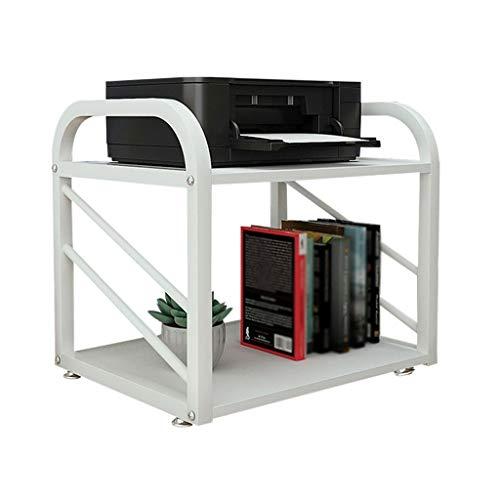 Soporte de Impresora Pequeño soporte de impresora Metal marco fijo 2-capa Estante de escritorio Máquina de fax Scanner Soporte Impresora de la impresora 55 × 40 × 46cm Organizador de Almacenamiento