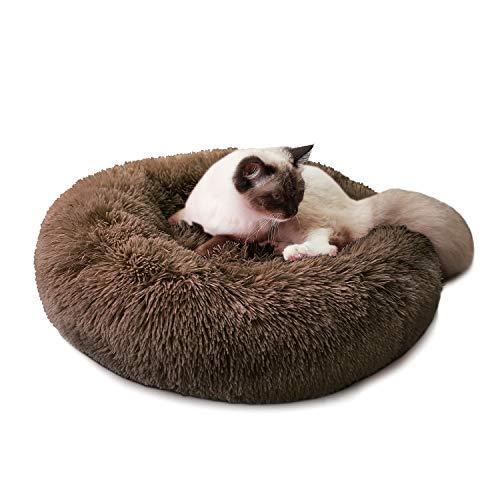 Cama para Perros Cama Redonda de Felpa Suave para Mascotas Almohada para Perros Sofá para Gatos Café 80cm