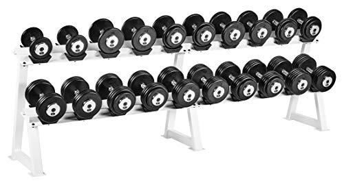 Bad Company Studio Heavy Duty Kurzhantel-Set inkl. Ablage-Rack I 10 Paar Hanteln von 5 kg bis 27,5 kg I Gesamtgewicht 378 kg - Gummi