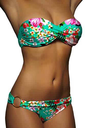 ALZORA Twist Push Up Bandeau Bikini Set Damen Pushup Badeanzug viele Farben und Größen (M, ZZ09-Neongrün Bänder)