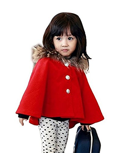 Kids Girls Wool Blend Hoodie Capes Poncho Children Fall Winter Outwear (4T, Red)