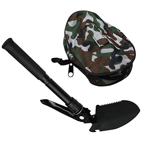 Yardwe Militär Klappschaufel Überleben Mini Spaten Entrenching Werkzeug mit Tragetasche für Camping Wandern Notfall Gartenarbeit Schwarz