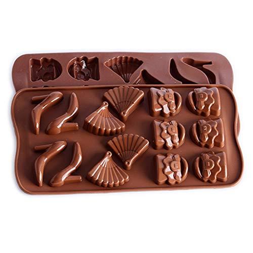 Moldes- XL para Hornear Pan, Silicona Antiadherente Pequeños para Pasteles Pastel de Caramelo de la Fan, del Zapato, de la Bolsa de Chocolate