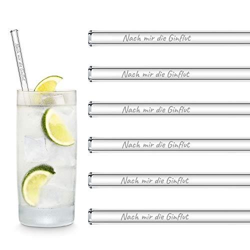 HALM Original Glas Strohhalme Gin Sprüche