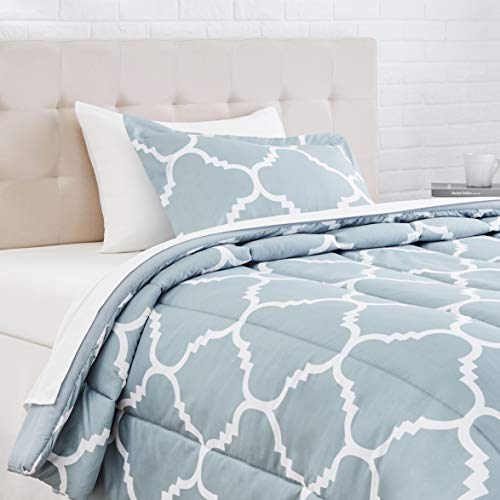 AmazonBasics 5-Piece Light-Weight Microfiber Bed-In-A-Bag Comforter Bedding Set - Twin or Twin XL, Dusty Blue Trellis