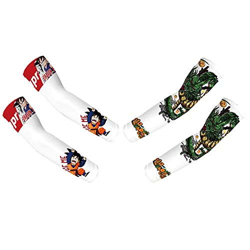 Aierwen Demon Slayer:Kimetsu no Yaiba 3D Printed 2pcs UV Protection Arm Cooling Sleeves,Ice Silk Arm Cover for Unisex 3