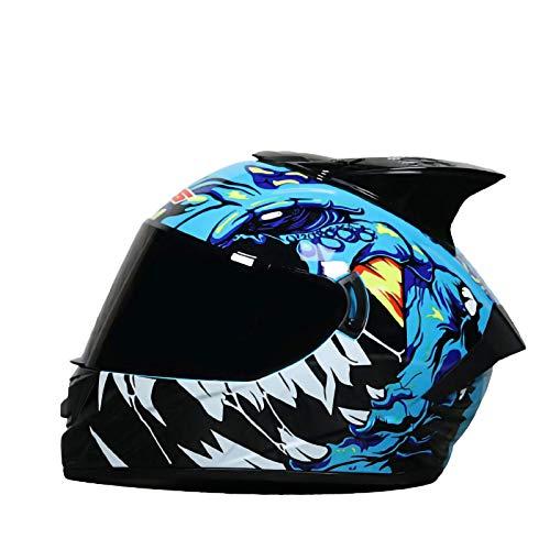 SJAPEX Casco Moto ECE Homologado Casco de Moto Integral Scooter para Mujer Hombre Adultos con Doble Visera Protección para Carreras al Aire Libre Protección Solar Gorras A,M=57~58CM