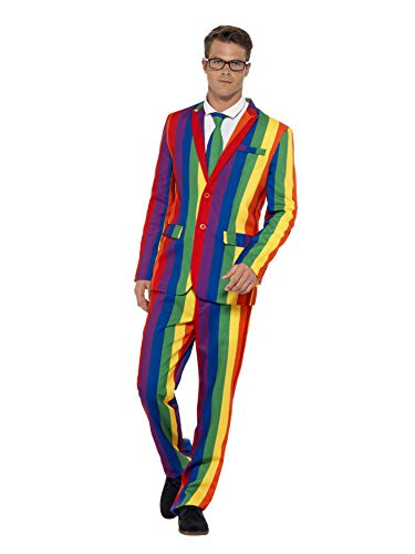 Smiffy's 27560XL - Over The Rainbow pak met jas broek en stropdas, meerkleurig X-Large multicolor
