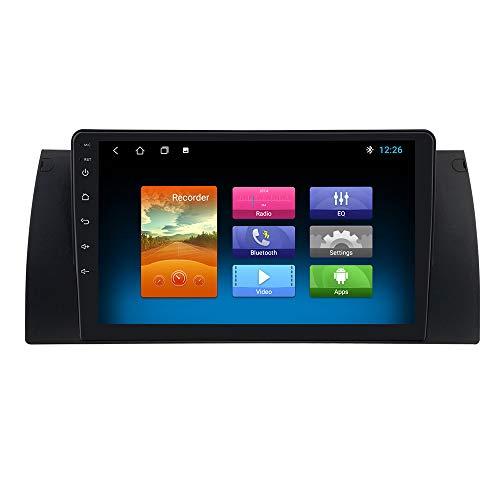 Radio de Coche Android OS 10 con Pantalla táctil de 9 Pulgadas Adecuado para BMW Serie 5 X5 E53 M5 Serie 7 Soporte Navegación GPS Control de Rueda de Calle Bluetooth Conexión USB Mirrorlink