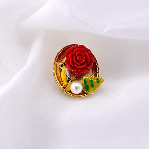 Miwaimao Landia Vintage Art Beauty Rose Flower Pintura al óleo Perla Broche Botón Geométrico Cuadrado Pin Redondo Insignia para Mujer Ropa Joyería Regalos