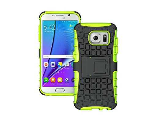 FaLiAng Samsung Galaxy S7 Edge Funda, 2in1 Armadura Combinación Neumáticos Patrón A Prueba de Choques Heavy Duty Escudo Cáscara Dura para Samsung Galaxy S7 Edge (Verde)