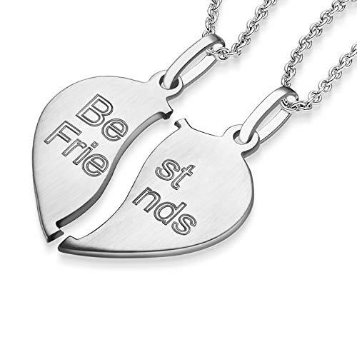 Liebesketten Freundschaftsketten Partnerketten Silber 925 Gravur Herzkette für Paare zwei Teile Love Kette teilbar Pärchen halb Hälfte trennbare zerbrochen zweiteilig doppelt zum Teilen FF78SS92545